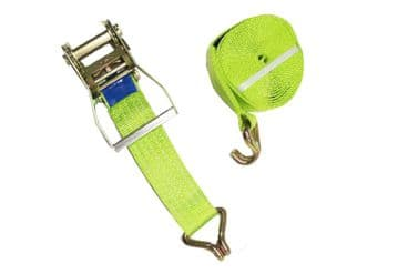 1 x 50mm x 10 metre High Visibility RATCHET LASHING STRAPS MBL 5T Claw Hook
